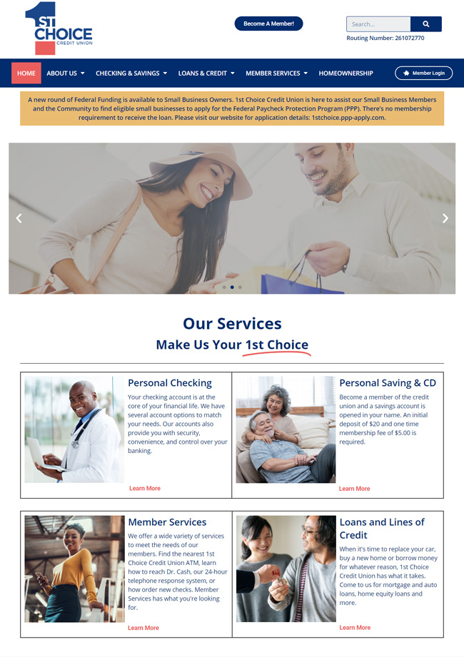 1st choice credit union website